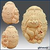 Hase mit Osterei verziert–3D Seife/Kerze/Polymer/Ton/kalt Porzellan Silikon Form