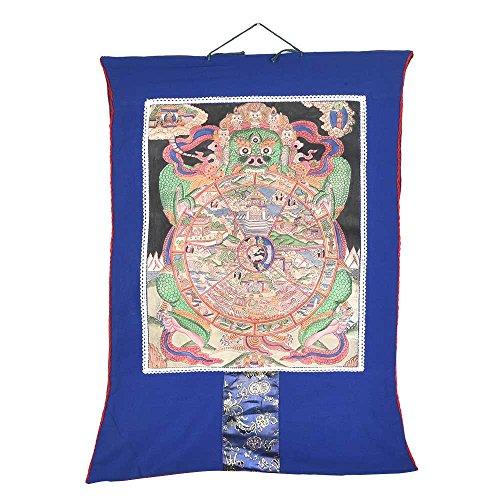 indianshelf handgefertigt Dekorative rahmenlose tibetischen Buddhismus Rad des Lebens Thangka Online