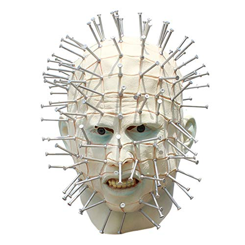 belupai Herren Monster Horror Hellraiser Pinhead Maske Halloween Kostüm Zubehör Erwachsene Kostüm Maske für Halloween Cosplay Party (Herren Pinhead Kostüm)