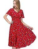 GardenWed Damen Übergröße Strandkleid Blumen Boho Lang V-Ausschnitt Abendkleid Partykleid Red Little Flower XL