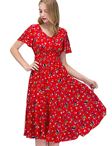 GardenWed Sommerkleider Damen Kurzarm V-Ausschnitt Blumen Strandkleider Partykleid Abendkleid Red...