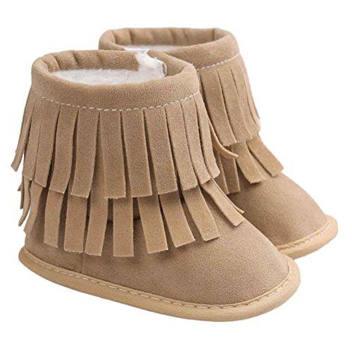 Hunpta Neue jungen Lauflernschuhe Baby Schneestiefel halten Warm Doppelstock-Quasten weiche Sohle weiche Krippe Schuhe Kleinkind Stiefel (13, Rosa) Khaki