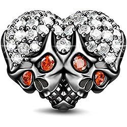 GNOCE Abalorio con diseño de calaveras dobles con corazón de cristal para pulsera y collar, gran regalo