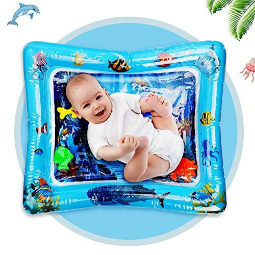 Ucradle bebé Estera de Agua, 66-50cm Inflable Tiempo Boca Abajo Agua Mat Llena de Agua Juego Estera del Amortiguador Pat Pad con Flotante Animales para niños Bebés Niños 3-12 Meses