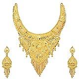 #2: Mansiyaorange Party Wedding Wear One Gram Gold Original Wax Forming Work Premium Golden Necklace Jewellery Set for Women(6 Inch Wide 7 Inch Long)