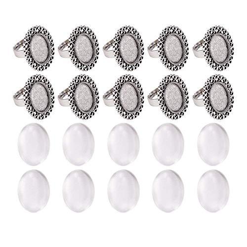 PandaHall Oval Transparent Glas Cabochons Eisen Blume Finger Ring Cabochon Bezel Settings DIY