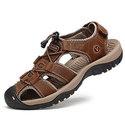 WXR Herren Bewegungserziehung, Körpererziehung, Leibeserziehung Klettern Baotou Sandalen Draussen Strand Leder Sandalen Dark Brown