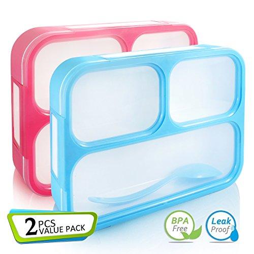 AckMond Bento Box, Mikrowellensichere Brotdose Lunch Box mit 3 separaten Siegelbehältern (2 Stück)