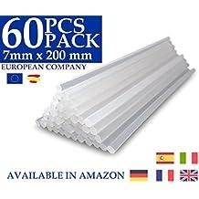 Pack 60 barras de silicona caliente transparente EXTRA LARGAS (7x200mm). Más silicona que en las barras convencionales. Pegamento termofusible perfecto para manualidades y trabajos de bricolaje. El mejor recambio para tu pistola de silicona.
