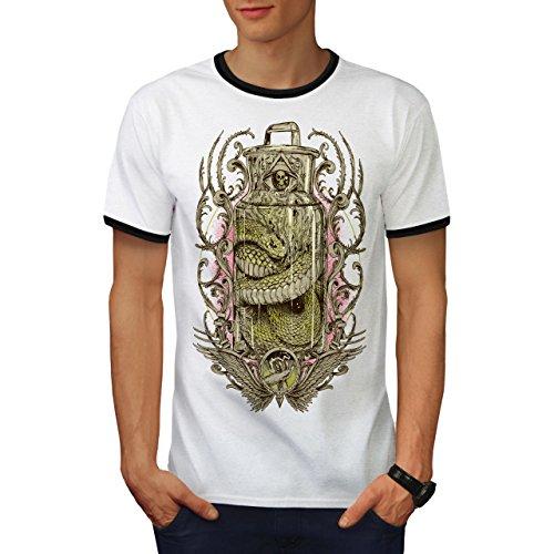 Glas Schlange schaurig Jahrgang Python Herren M Ringer T-shirt | Wellcoda (Python-spitze)