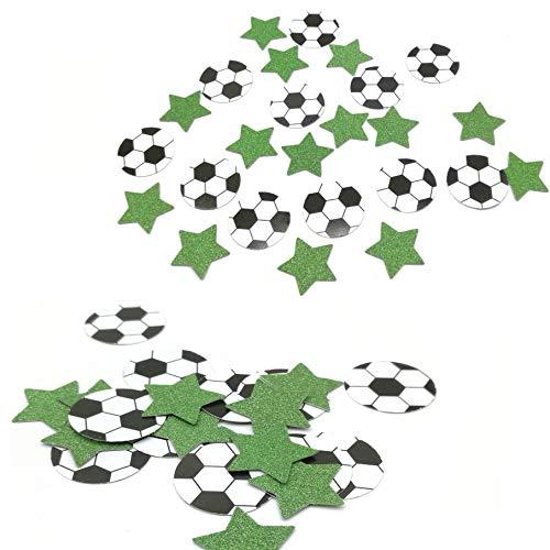 DooXoo Tischdekoration Fußballkonfetti mit glitzernden grünen Sternen Dekoration für Jungen Fußball Sport Geburtstag Party 100CT Green Black White