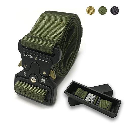 Tactical Gürtel–4,3cm verstellbar Hohe Qualität im Militär-Stil Nylon Gürtel mit Zink Legierung Schnalle–Schnell Unlock, Multifunktions, grün (Tabs Gürtel)