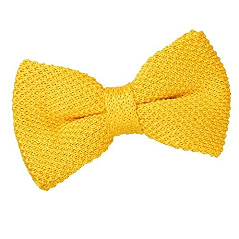 DQT Premium Knitted Polyester Plain Solid Marigold Yellow Men's Pre-Tied