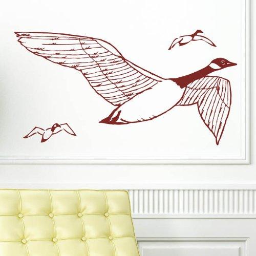 Wildgänse Flug - Wandtattoo / 49 Farben / 4 Größen / Qualitätsprodukt / dunkelgrau / 35 x 67 cm -