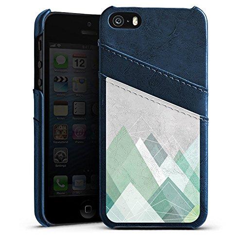 Apple iPhone 5s Housse Outdoor Étui militaire Coque Montagnes Abstrait Graphique Étui en cuir bleu marine