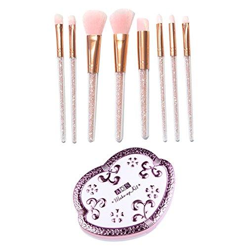 Baoblaze 8x Strass Pinceaux de Maquillage Set + Palette de Maquillage Professionnel