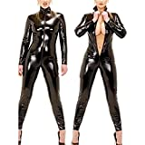 Yiwa Women Latex Catsuit Open Bust Crotchless Erotic Faux Leather Jumpsuit Porn Bodysuit Lady Clubwear Sexy Fetish Costume