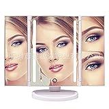 XTXWEN Make-up-Spiegel, dreiseitig klappbare geführte Tischspiegel abnehmbare Spiegel Mehrwinkelfläche mirror28*18 * 2.6cm weiß