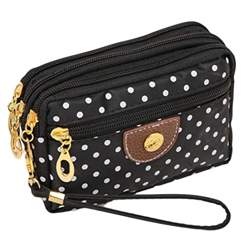 Ouneed Fashion Women Wristlets Bag Messenger Wave Canvas Zipper Bag (Black)