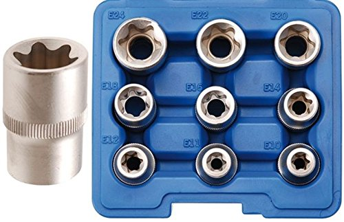 BGS 6425 Steckschlüsseleinsätze für E-Profil, E10-E24, 12,5 (1/2), 9-tlg.