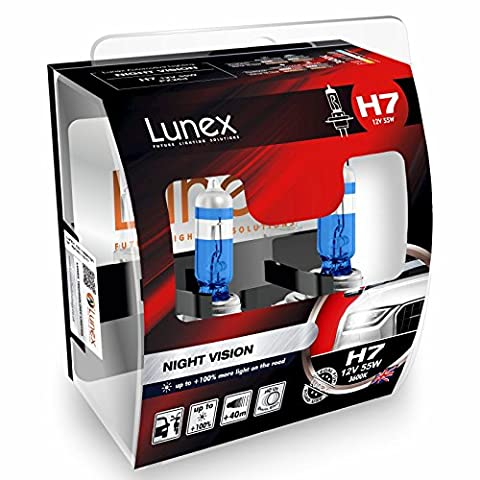 LUNEX H7 NIGHT VISION Ampoules Halogenes Phare Blanche 477 12V 55W PX26d 3600K duobox (2 pieces)