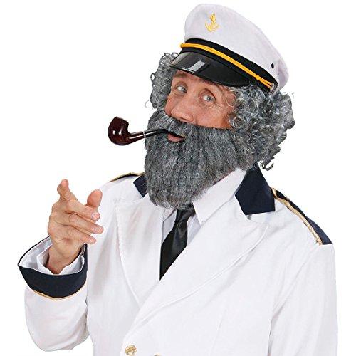 Amakando Seemann Bart grau Opa Vollbart Kapitän Kunstbart mit Mustache Falscher Herrenbart mit Schnurrbart Captain Faschingsbart Buschiger Karnevalsbart Karneval Kostüm Zubehör