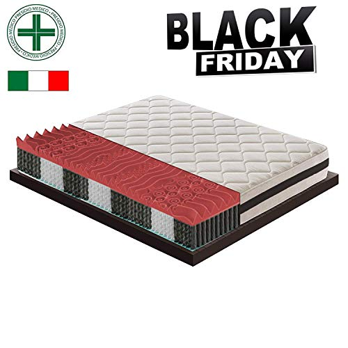 Black friday - materasso singolo a 900 molle indipendenti insacchettate con strato in memory a 9 zone differenziate ortopedico - ergonomico - made in italy - presidio medico 80x190