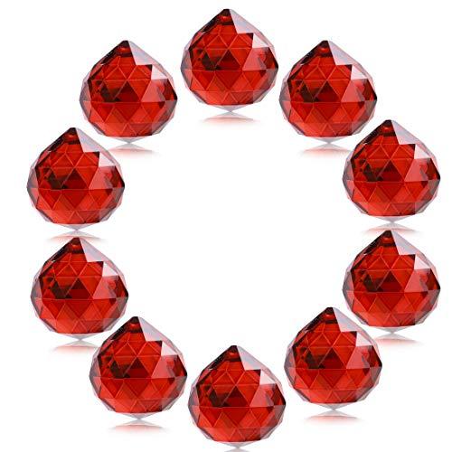 H & D Kristall Glas Kugel 30mm - Facettenreich Kronleuchter Prismen Anhänger Tropfen Sonnenfänger Lampe Kerzenhaltern Teile, Kristall, rot, 10 Stück