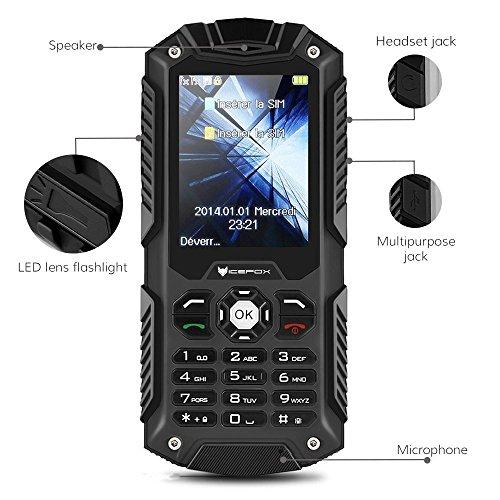 IceFox (TM) Dual Sim Outdoor Handy,2,4 Zoll Display,IP68 Wasserdicht,Stoßfest, Rugged Handy Ohne Vertrag mit Lautem Lautsprecher und Fahrradlicht - 8