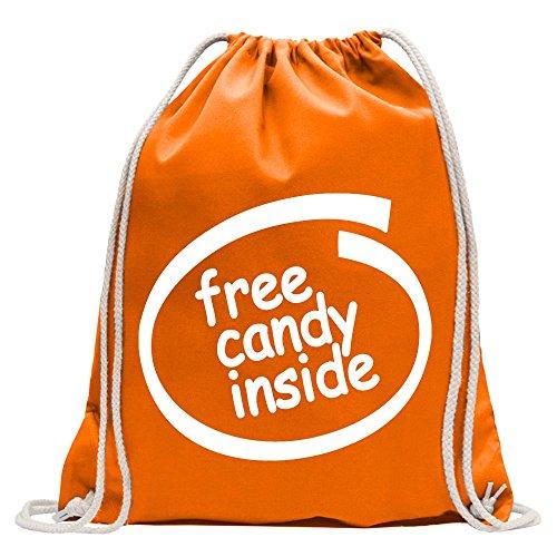 KIWISTAR - Free candy inside Turnbeutel Fun Rucksack Sport Beutel Gymsack Baumwolle mit Ziehgurt (Mandarin Orange Candy)