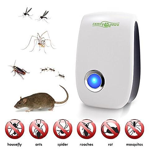 Die besten Pest & Insektenvertreiber - Erweiterte Schädlingsbekämpfung- Ultraschall Technologie- vertreibt Mäuse Ratten Fliegen Spinnen Ameisen Fliegen Mücken Kakerlaken- Sicher- Ungiftig- PET- und umweltfreundliche- Elektronisch