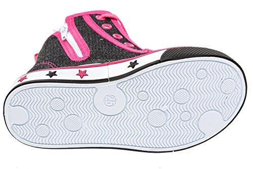 GIBRA® Sneaker für Mädchen, schwarz/pink, Gr. 25-30 Schwarz/Pink