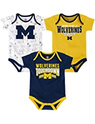 "Michigan Wolverines NCAA ""Playmaker"" Infant 3 Pack Bodysuit Creeper Set"