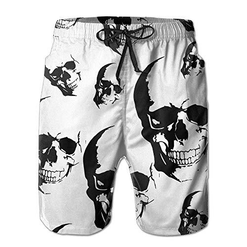 Nisdsh Men's Skull Seamless Board Shorts Swim Trunks,Quick Dry Beach Board Shorts Summer Swim Trunks for Boy Swimming Medium -