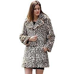 Adelaqueen Chaqueta de Piel Abrigo Tres Cuartos de Piel Sintética y Solapas con Estampado Vintage de Leopardo Para Mujer Talla Chaqueta Piel Sintética Mujer Faux Fur Coat Abrigos Piel Sintética-L