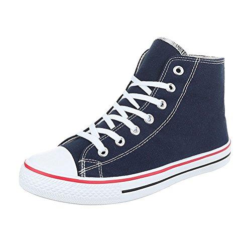 Sneakers für Damen und Herren Unisex Turnschuhe Schnürsenkel Ital-Design Dunkelblau SW15277