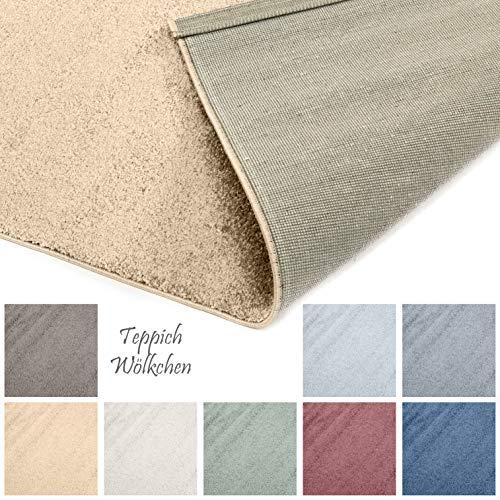 Designer-Teppich Pastell Kollektion | Flauschige Flachflor Teppiche fürs Wohnzimmer, Esszimmer, Schlafzimmer oder Kinderzimmer | Einfarbig, Schadstoffgeprüft (Gold, 60 x 90 cm) (Gold, Läufer Teppich)