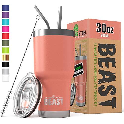 Tumbler (Greens Steel New Beast Tumbler Edelstahl Vakuum Isoliert Rambler Kaffee Tasse Doppelwandige Reise Fläschchen (30oz, Blühen))