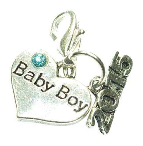 Baby Boy 2015Clip auf Charme mit Blau Geschenkbeutel oder blau Geschenkbox handgefertigt von Libby 's Market Place, metall, mehrfarbig, Blue Gift Box (Girls Clip Auf Charme)