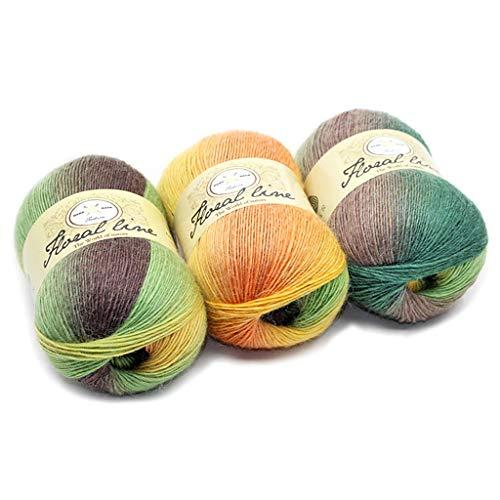 Dabixx filato di lana, morbido filato pettinato arcobaleno colori sfumati fai da te maglia per bambini sciarpa di lana scialle filo per uncinetto - 2#