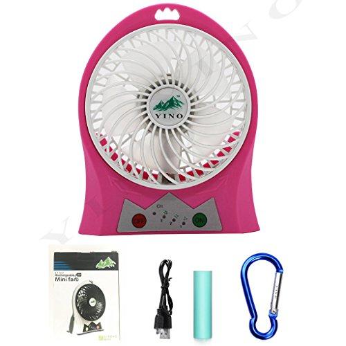 Yino Mini-Ventilator, mit 3Geschwindigkeitsstufen, USB, wiederaufladbar, tragbar, mit Taschenlampe für Reisen, Angeln, Camping, Wandern, Rucksackreisen, Grillen, Kinderwagen, Picknick, Radfahren, Bootsfahrten rot