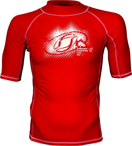 Male Adult Short Sleeve Thermal Lycra Red Rash Vest, Ideal For Swimming, Diving, Kitesurfing and Surfing