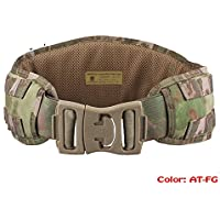 Modular táctica 1000d Nylon resistente batalla combate acolchado cinturón Molle Durable cintura 4colores (Multicam, Digital Woodland, desierto Digital, en FG) para Airsoft Militar Camping Caza, AT FG