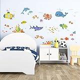 Decowall DAT-1611 Abenteuer auf See Meerestiere Tiere Wandtattoo Wandsticker Wandaufkleber Wanddeko für Wohnzimmer Schlafzimmer Kinderzimmer (Englische Ver.)