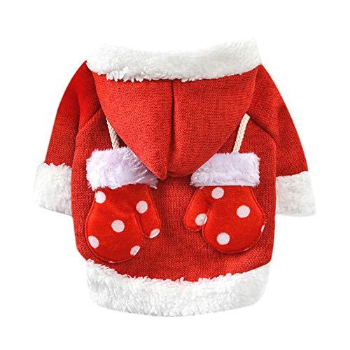 (Amphia - Hundekleidung warme Mantel mit Kapuze Presse,Weihnachtshandschuhe-Haustier-Hundekatze-Winter-mit Kapuze Strickjacke-Kostüm-Kleid(S,Rot))