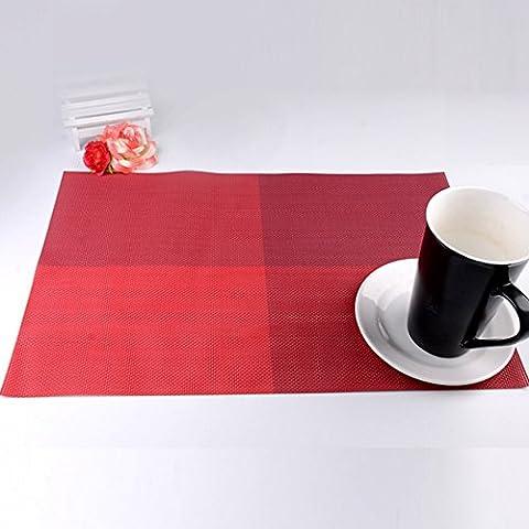 ALLTOP pack de 6 mode napperon de PVC sets de table cuisine salle à manger nappe de chaleur Imperméable Lavable sets de table de vinyle en plastique antidérapantes (310mm * 455mm), Rouge