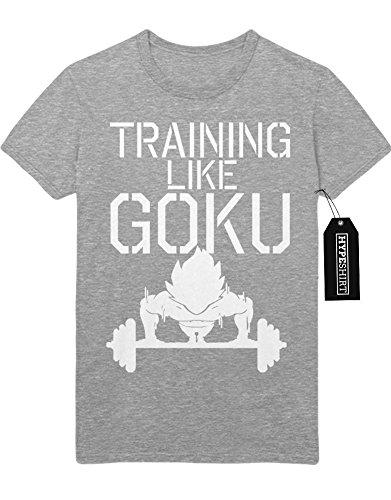 T-Shirt TRAINING LIKE SON GOKU Dragon Ball Z GT Super Trunks Gohan C980031 Grau