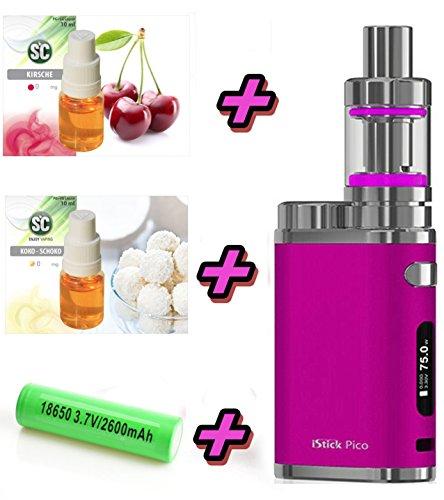 iStick PICO Starter Kit XXL Set Pink | Elektro Zigarette Set | mit SC Liquids - Stick 75 W TC - Hochwertiges Geschenk-Set 00mg Rauchen ohne Nikotin
