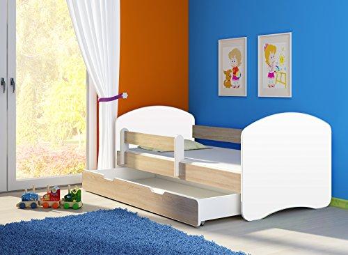 Kinderbett Jugendbett mit einer Schublade und Matratze Weiß ACMA II (160x80 cm + Schublade, Eiche Sonoma)