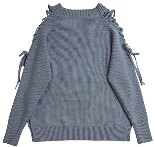 Vogueearth Fashion Hot Femme's V-Neck Lace up Knit Jumper Sweater Chandail Tricots Pullover Top Bleu